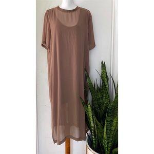 Zara Woman 2XL Sheer Mesh Maxi Shirt Tunic Dress